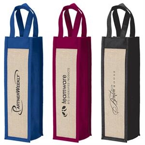 Wine Gift Tote Made From Polypropylene Non-woven Material With Laminate Jute Panels