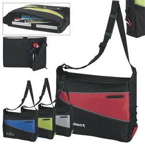 Black Messenger Bag With Two Tone And Reflective Front Piping Accent