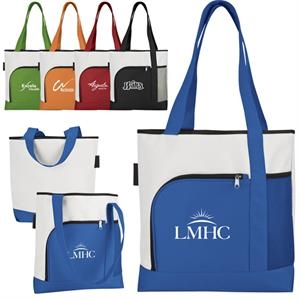 Bright White 600 Denier Polyester 2-tone Large Capacity Tote With Color Accents