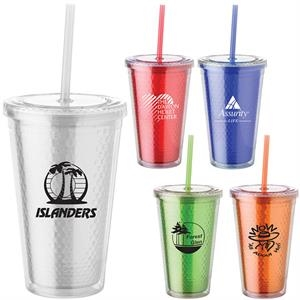 16 Oz. Honeycomb Cup Tumbler Has Clear Double Wall, Screw-top Lid And Color Lining