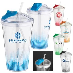Soundwave - 16 Oz. Clear Double Wall Acrylic Cup Tumbler With Straw