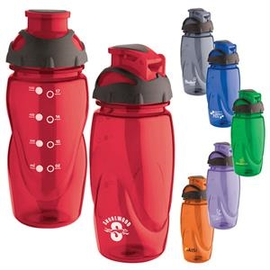 Tritan (r) - 18 Oz. Water Bottle Has Translucent Color, Black Rubber Cap And Drink Spout