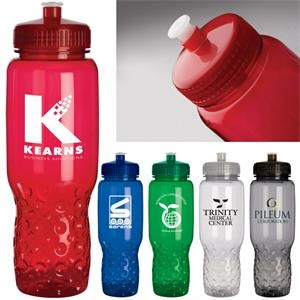 32 Oz. Water Bottle Has Bubble Texture At Base, Easy To Grip And Fits In Cup Holder