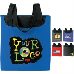 "Promotional Tote Bag. Poly 600d. Approximate Size: 14"" (top) X 14.5"" X 1.75"""