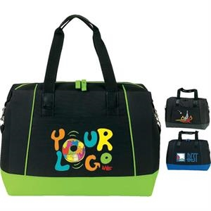"Carry-on Satchel Bag. Poly 600d. Approximate Size: 24"" (top) X 15.5"" X 8.5"""