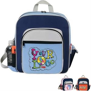 "Contemporary Kid's Backpack. Poly 600d. Approximate Size: 11"" X 12.5"" X 4.5"""