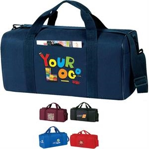 "Economy Square Duffel Bag. Poly 600d. Approximate Size: 19"" X 9"" X 9"""