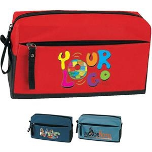 "Global - Toiletry Kit. Poly 600d. Approximate Size: 9.25"" X 5"" X 3.75"""