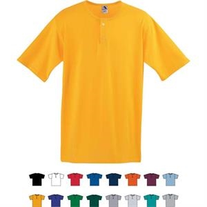 White S-l - Youth Two-button Baseball Jersey With Set-in Sleeves. Sold Blank
