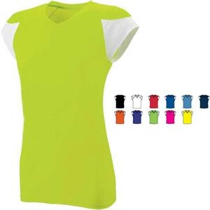 Mvp - S- X L - Ladies Fitted Performance V-neck Jersey. Sold Blank