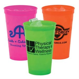 22 Oz. Smooth Plastic Stadium Cup, Neon Colors - Mega Special