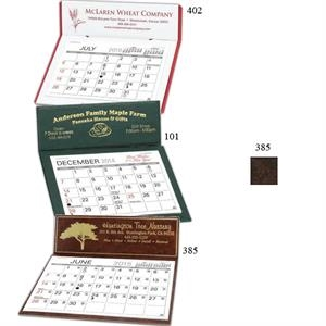 Marquis - Monthly Desk Calendar With An Elegant Brown Leatherette Design And Border