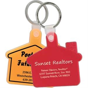"Soft House Shaped Key Tag With Silver 1"" Split Ring"