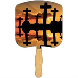 Crosses At Sunset - Religious Fan