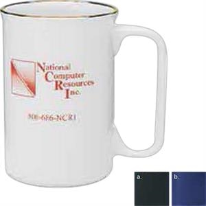 Covington - White - Colored Ceramic Mug With D-shaped Handle, 11 Oz