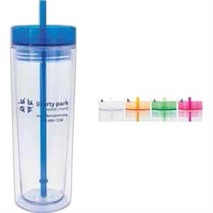 16 Oz. Glass With Lid And Straw