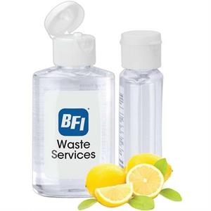 Citrus Scented 2 Oz Travel Gel Hand Sanitizer In A Clear Bottle With A Flip Top Lid
