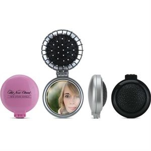 Compact Hair Brush With Mirror