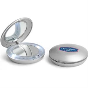 Compact Vanity Mirror With Light In A Silver Case