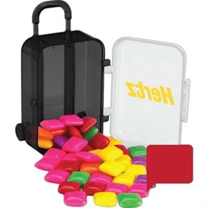B Fills Option - Luggage Bag Shaped Candy Container. Clear Top With Black Base