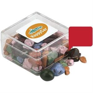 A Fills Option - Clear Square Plastic Candy Jar Can Be Filled With Many Different Sweets Or Mints!