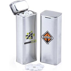 B Fills - Convenient Silver Tin With Hinged Lid Makes It Easy To Carry And Dispense Candy