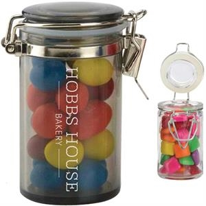 Corporate A Fill - Clear Round Glass Candy Jar With Clasp And Your Choice Of Candy Fill