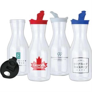 Clear 36 Oz. Plastic Carafe With Colored Flip-open Screw-on Lid