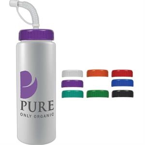 Personal Refillables (tm) - 32oz Reusable And Recyclable Sports Bottle With Straw Cap Lid
