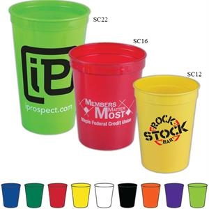Twelve Ounce Stadium Cup, Reusable And Recyclable Polypropylene