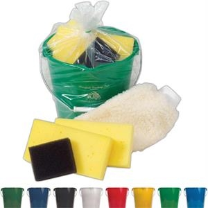 Wash N Buff - Car Wash Kit With 7 Quart Bucket, Two Sponges, Scrubber Sponge, And Mitt