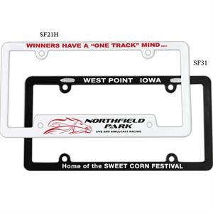 White Full View License Plate Frame With 4-holes Is Designed To Fit Most Cars