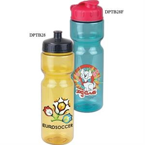 Personal Refillables (tm) - 28 Oz Transparent Sports Bottle With Tethered Lid
