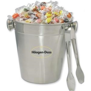 Stainless Steel Ice Bucket With Tongs Filled With Jelly Beans