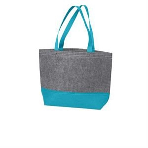 Port Authority Medium Felt Tote. Sturdy Colorblock Tote With Riveted Web Handles