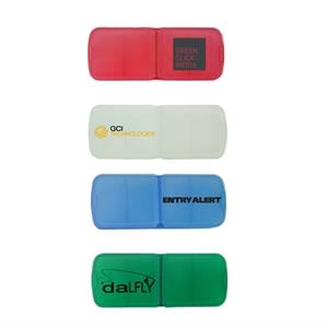 Pill Box With Bandage Dispenser. 2 Upper Compartments. 1 Lower Slide