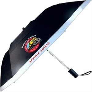 "Vented Automatic Folding Umbrella With Reflective Strip , 42"" Arc"
