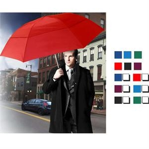 "Vented Grand Practicality (tm) - Vented Folding Umbrella With Black Matte Finish Handle, 46"" Arc"