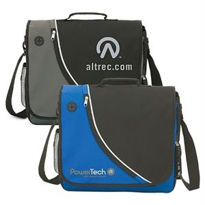 Corba - Polyester Messenger Bag With Music Player/cell Phone Cord Outlet On The Flap Pocket