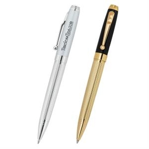 Excalibur (r) - Twist Action Brass Ballpoint Pen With Textured Barrel And Beautiful Accents