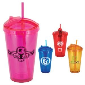 Glissade - 16 Oz. Tumbler, Double Walled With Slider Lid And Pop-up Straw