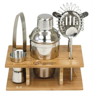 Stainless Steel Shaker Set In Bamboo Stand