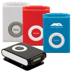 "Clip ""n"" Go Pedometer With Classic Two-tone Appeal. Cell Batteries Included"