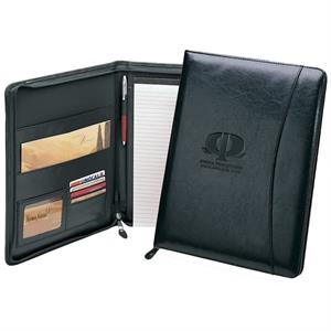 Assistant - Professional Simulated Leather Zip Portfolio With Card Holders And Writing Pad