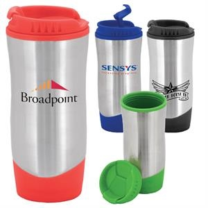 Wavelength - 16 Oz. Stainless Steel Travel Mug With Plastic Liner