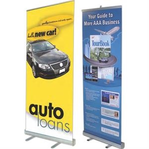 """33-1/2""""w Retractable Banner Stand with Carry Case"""