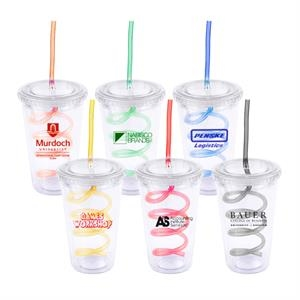 Double Wall Acrylic Tumbler With Curly Straw