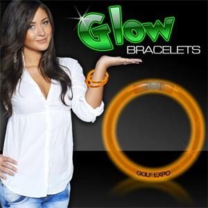 "Orange 8"" Single Color Superior Light Up Glow Bracelet"