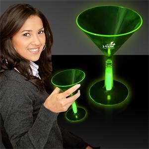 Green 8 1/2 oz. Martini Glass with Glow Light Up Base