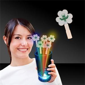 Shamrock Glow Light Up Swizzle Stick Toppers